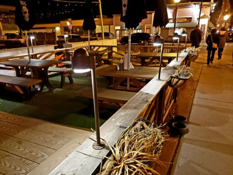 Lights on an outdoor dining area