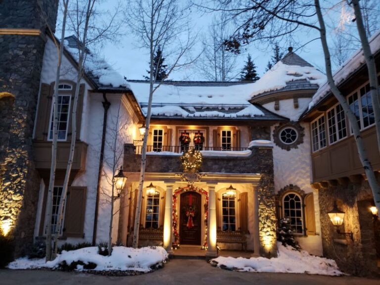 Beautiful white castle like house decorated for Christmas 2