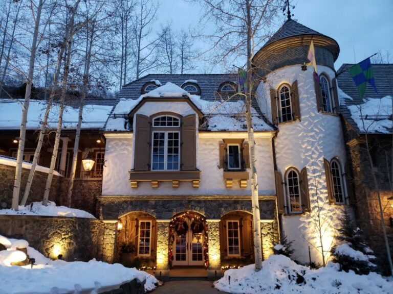 Beautiful white castle like house decorated for Christmas 3