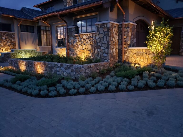 Stone enclosed gardens with lights