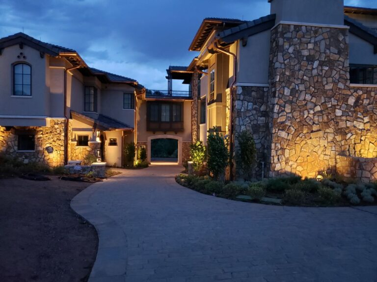 Stone house with lighting