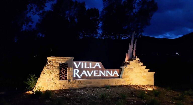 Lighted Villa Ravenna sign