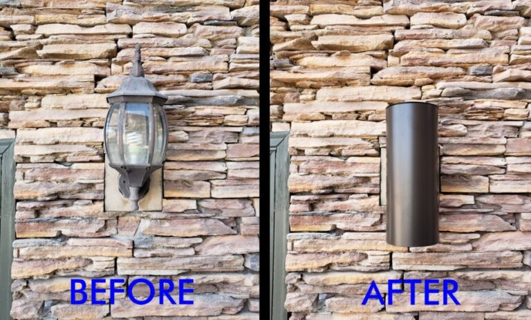 Stone replacement lights before and after